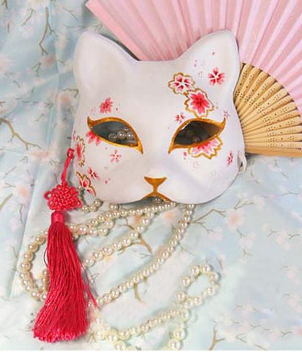 手作り 狐のお面 仮面 猫先生 ネコ 和風 マスク コスプレ道具小物