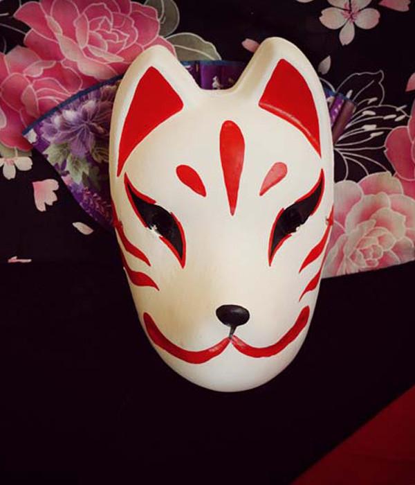手作り 赤白狐面 マスク 仮面 コスプレ道具小物