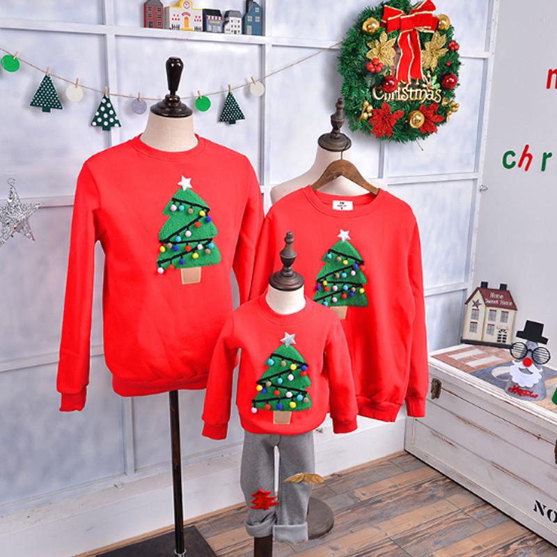 2016新品 クリスマスカーバ 親子服 2色選択可能 クリスマスツリー柄 家族全員カーバ