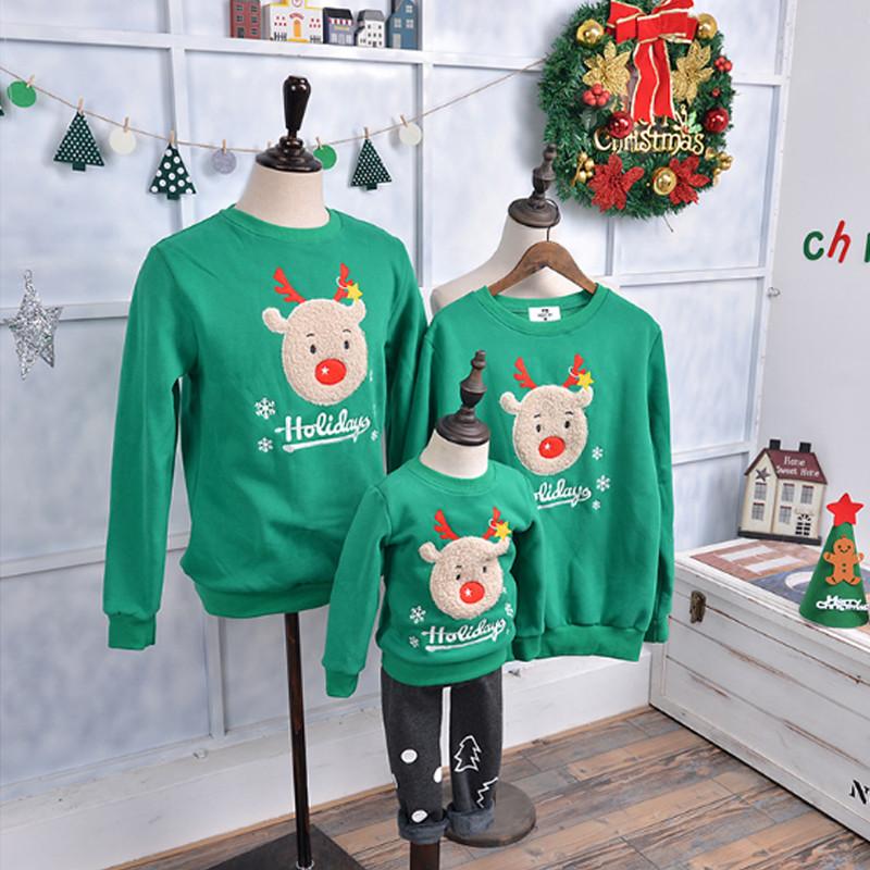 2016新品 クリスマスカーバ 親子服 2色選択可能 クリスマス鹿柄 家族全員カーバ