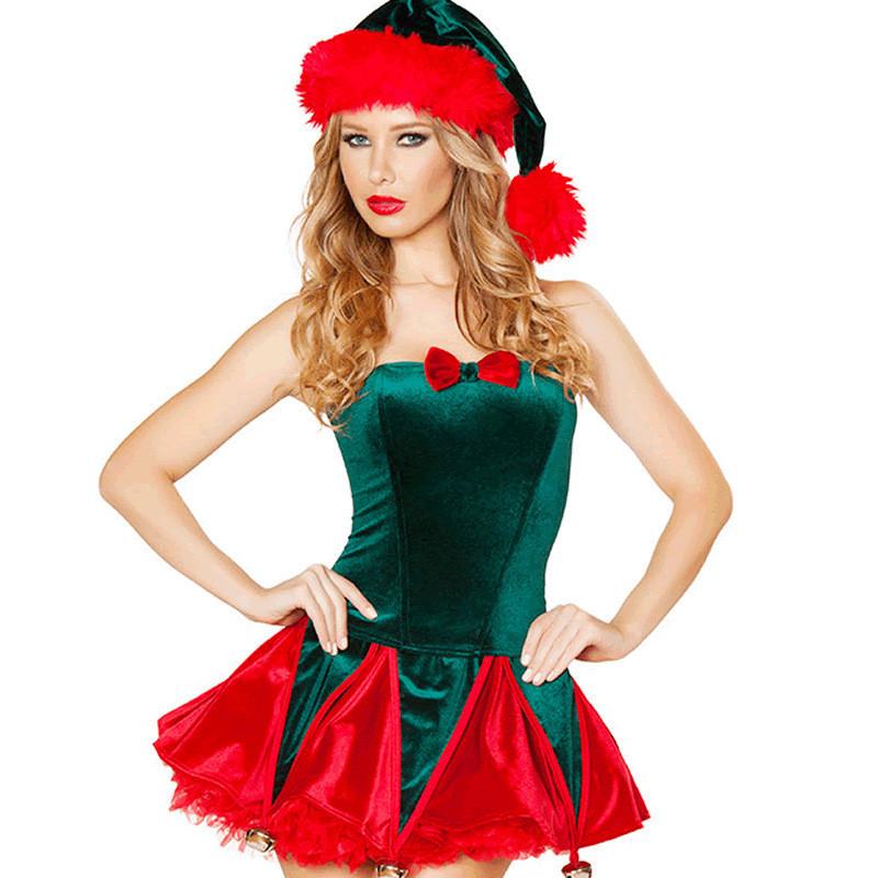 クリスマスコスチューム グリーン 女子用 クリスマスツリー服 姫ドレス
