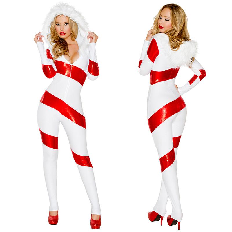 クリスマスコスプレ 赤+白 長袖 女性 クリスマスコスチューム 4点セット