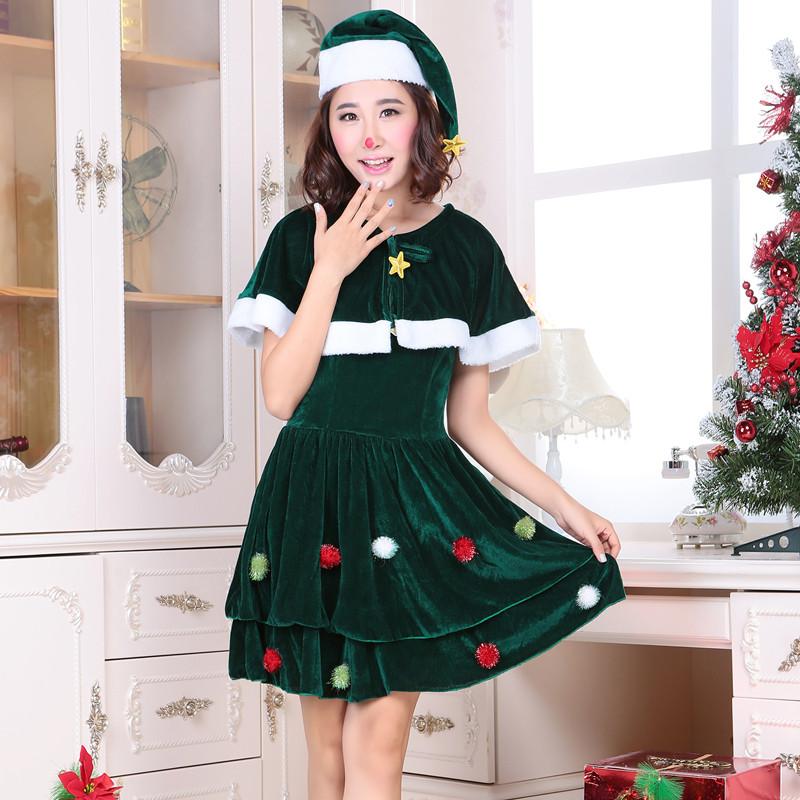 クリスマス新品 クリスマスツリー  レディース クリスマスコスチューム 短袖 2点セット