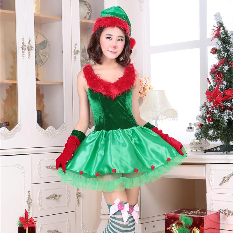 クリスマス新品 クリスマスツリー  レディース クリスマスコスチューム ノースリーブ 3点セット