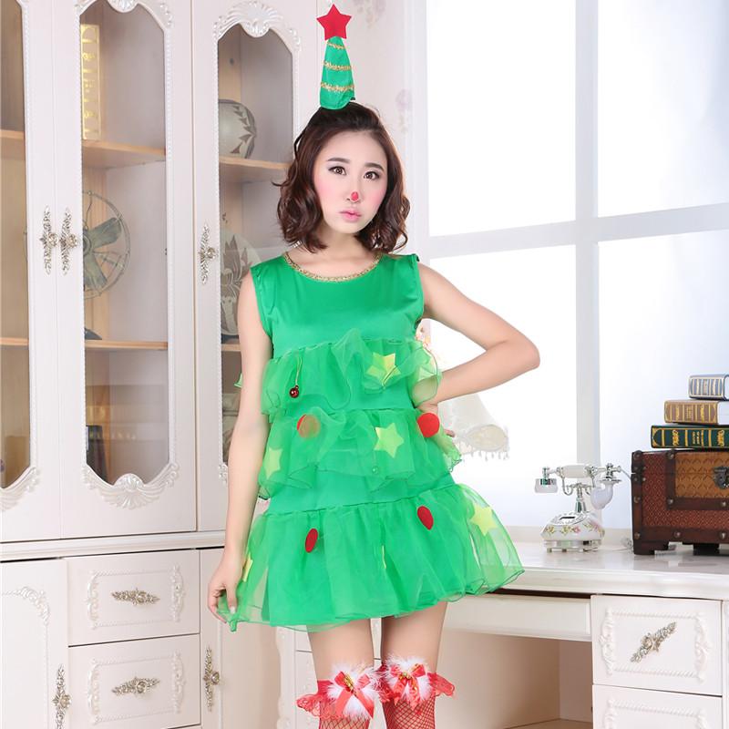 クリスマスドレス クリスマスツリー  レディース クリスマスコスチューム ノースリーブ 2点セット