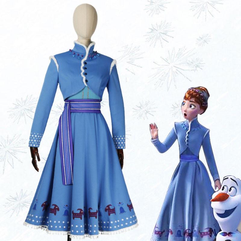Disney ディズニー アナと雪の女王2 Frozen 2 アナ コスプレ衣装 ブルー