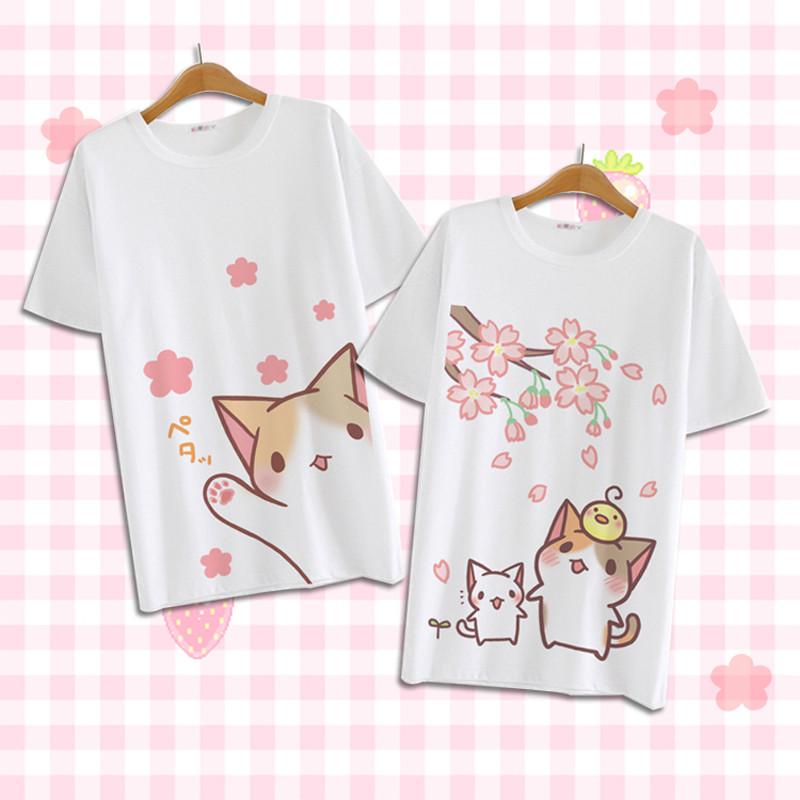 ねこあつめ 猫派 萌え萌え風 Tシャツ 短袖タイプ 日常可 コスプレ衣装