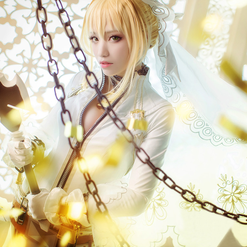Fate/EXTRA?Saber?フェイト?セイバー?花嫁 コスプレ衣装 ウェディングドレス
