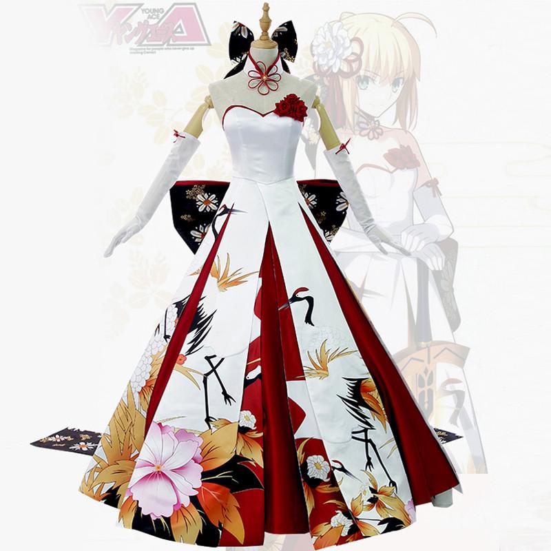 Saber セイバー  アルトリア 鶴ドレス セイバー風 ウェディングドレス