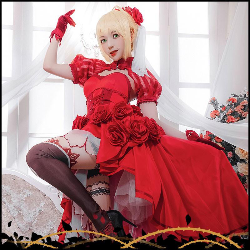 セイバー Saber コスプレ衣装 Nero ネロ コスチューム 赤セイバー ローズ パーティードレス イベント 文化祭 仮装 変装