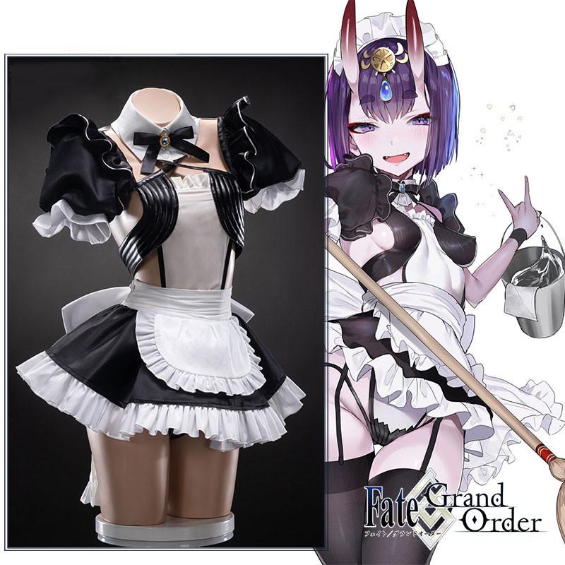 FGO Fate/Grand Order 酒呑童子  メイド服 コスプレ衣装 全セット 角 髪飾り ウィッグ