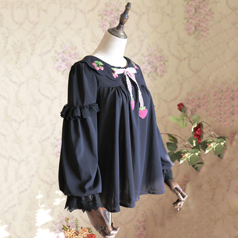 苺 イチゴ ゴスロリ ロリータ ブラウス シャツ リボン付き パンク ゴシック 宮廷風 ロリータ ワインレッド ホワイト ブラック 可愛い