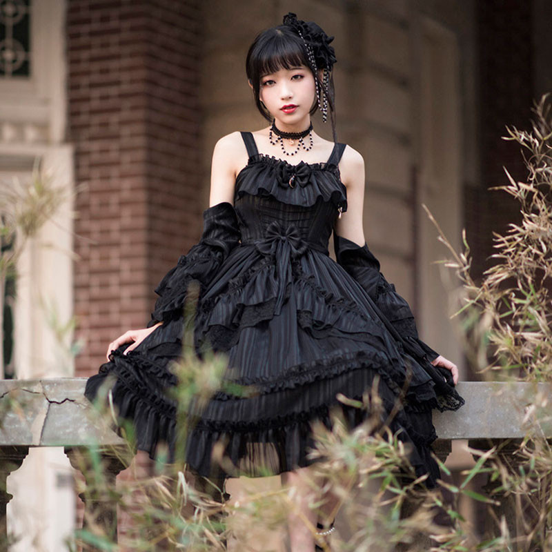 黒色ドレス フリル ジャンスカ クラロリ
