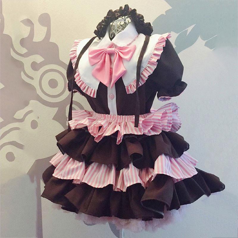 メイド服 コーヒー色 可愛い 荷葉フリル スカート コスプレ衣装
