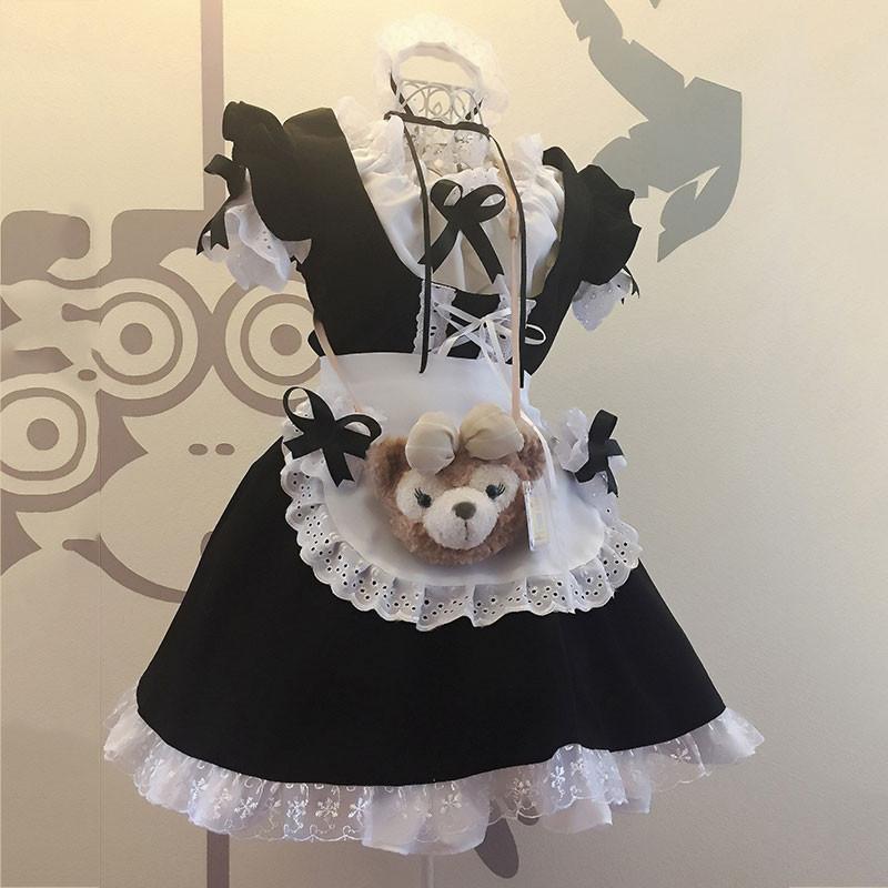 メイド服 黒白 荷葉フリル 6点セット スカート コスプレ衣装 Lolita