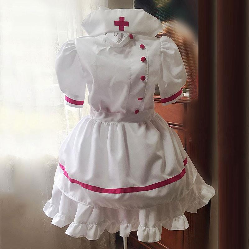 ナース服 メイド服 荷葉フリル スカート コスプレ衣装 ハロウィン