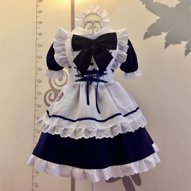 メイド服 青色 荷葉フリル スカート コスプレ衣装 Lolita アリス・イン・ワンダーランド