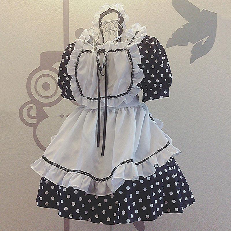 メイド服 姫 青い セット 可愛い お姫様 ドットプリント