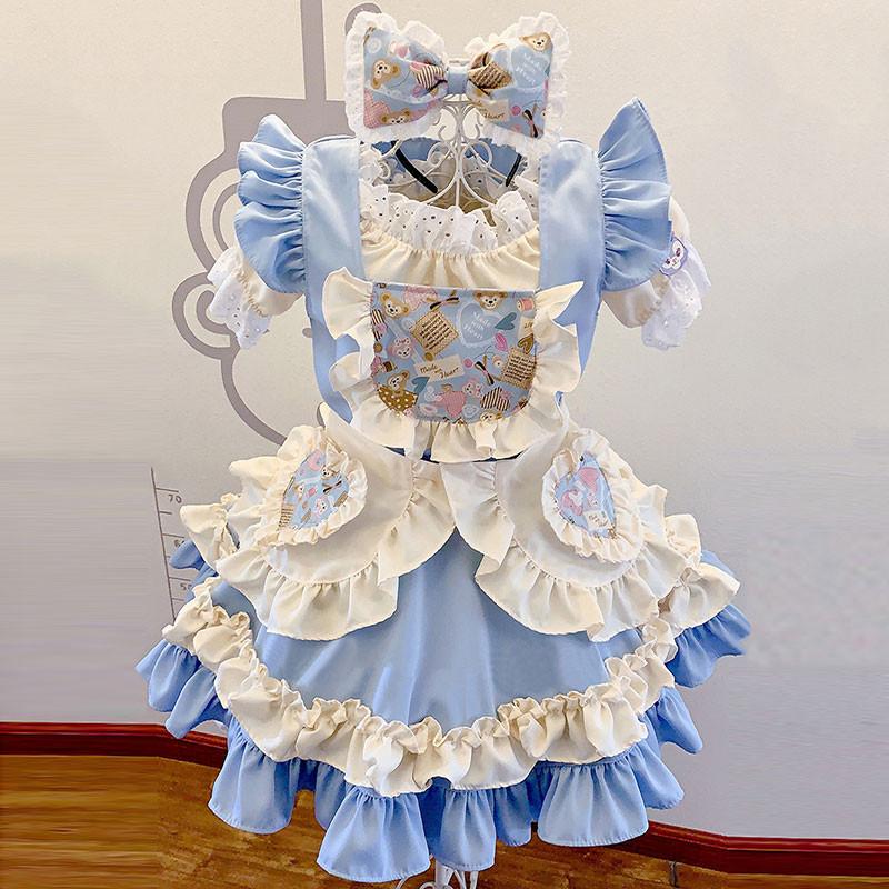 メイド服 可愛い 華麗 セット クリーム色 お姫様 lolita ブルー