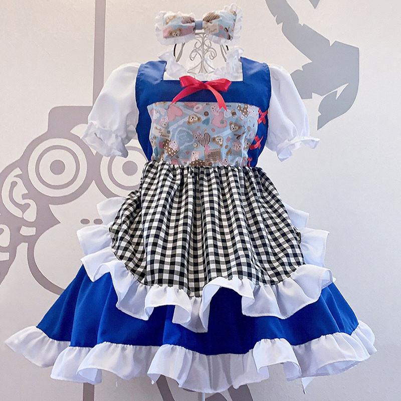 メイド服 可愛い お姫様 華麗 白+青 セット lolita