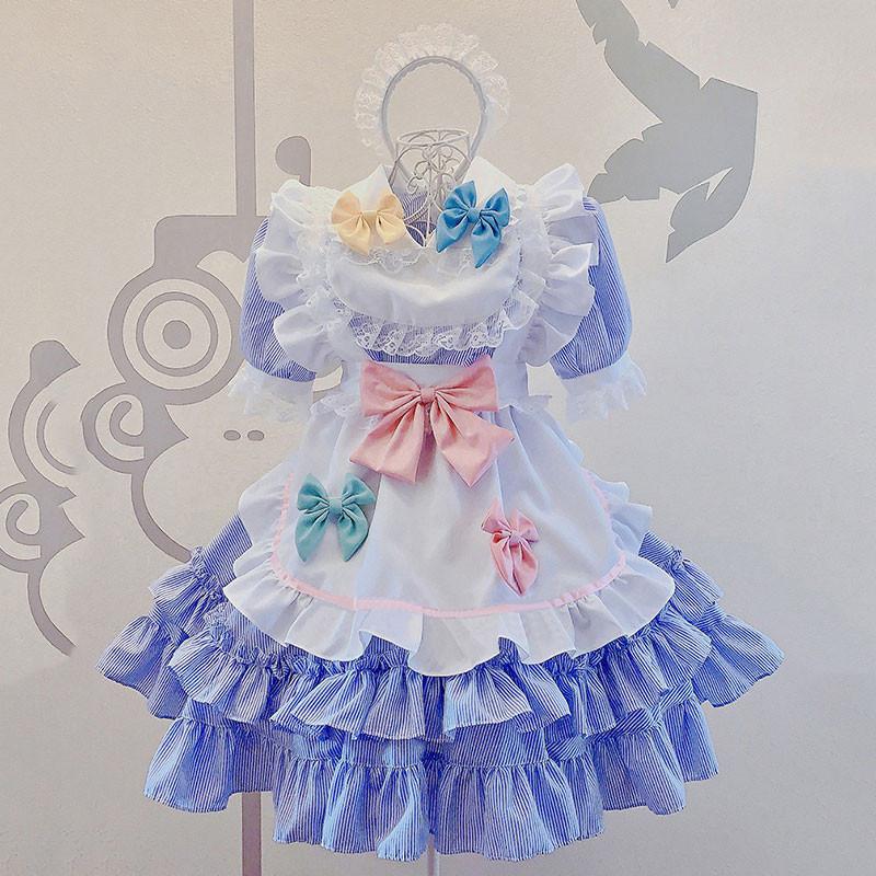 メイド服 可愛い セット 蝶結び 荷葉裾 コスプレ