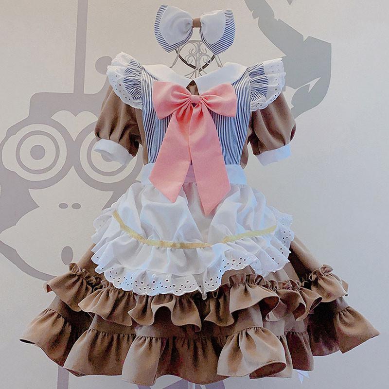 メイド服 可愛い 茶色 レース 喫茶店 蝶結び