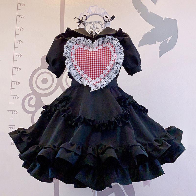 喫茶店 ブラック ハート飾り 荷葉裾 可愛い レース メイド服 セット