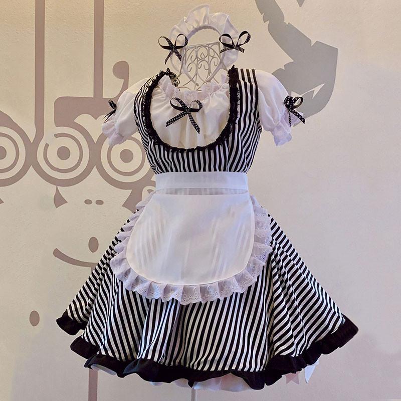 メイド服 白と黒縞 レース 蝶結び セット 喫茶店 コスプレ