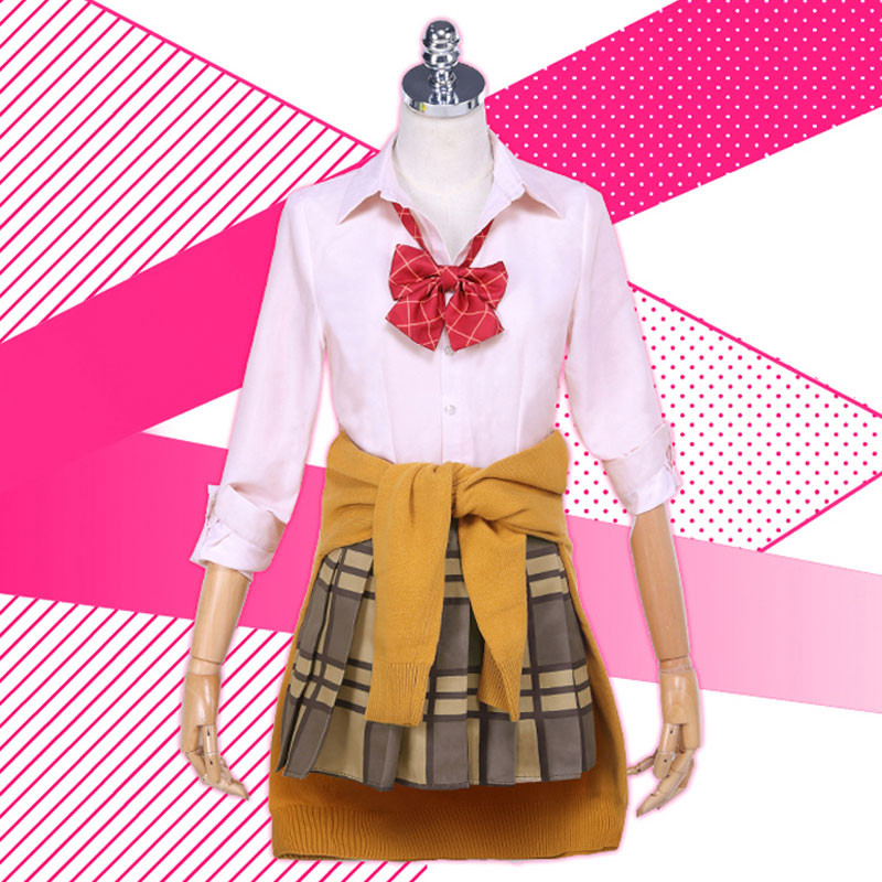 citrus蓝原柚子 コスプレ衣装 ティーシャツ プリーツスカート 蝶ネクタイ
