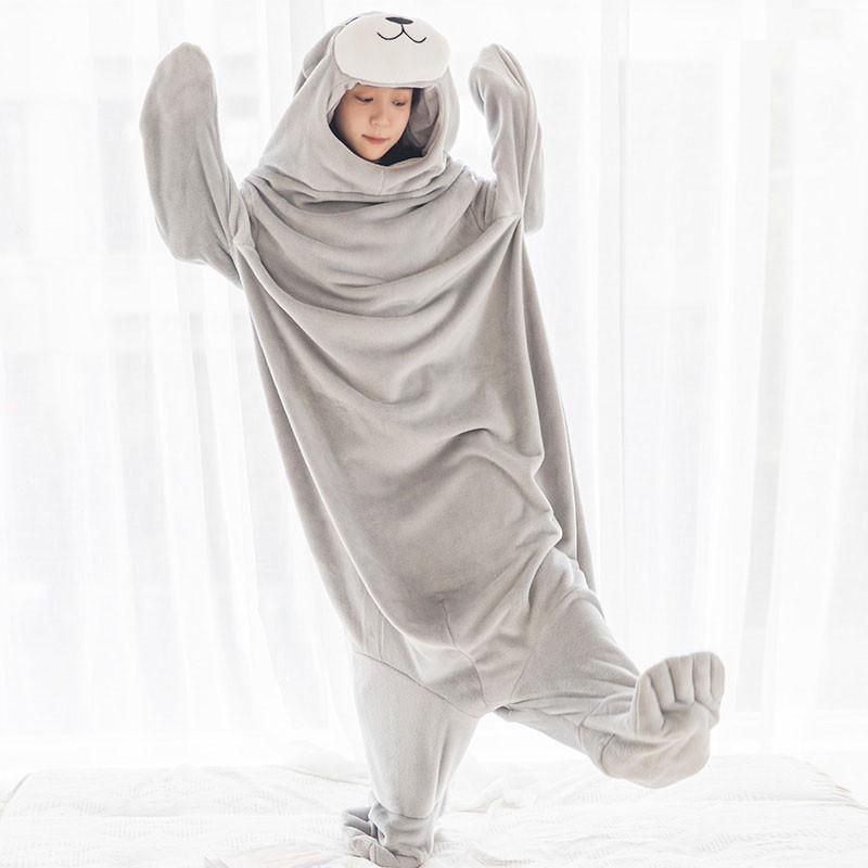 アザラシ 着る毛布 フランネル ブランケット