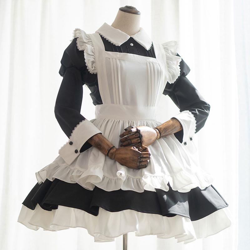 ハロウィン クリスマスメイド服 黒白 フリルエプロン 喫茶店メイド服