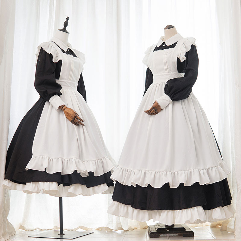 メイドコスプレ 英国風 黒白 クラシック色 ロング丈
