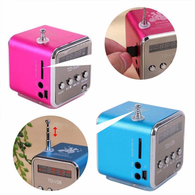 ミニスピーカー SD/TFカード TDV26  小型スピーカー MP3プレーヤー FMラジオスピーカー