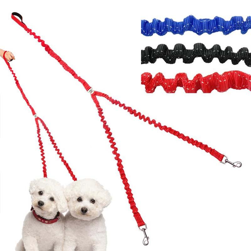 ペット用品 犬用リード 2頭引きダブルリード 2頭引きハーネス 安全帯 伸縮 弾力