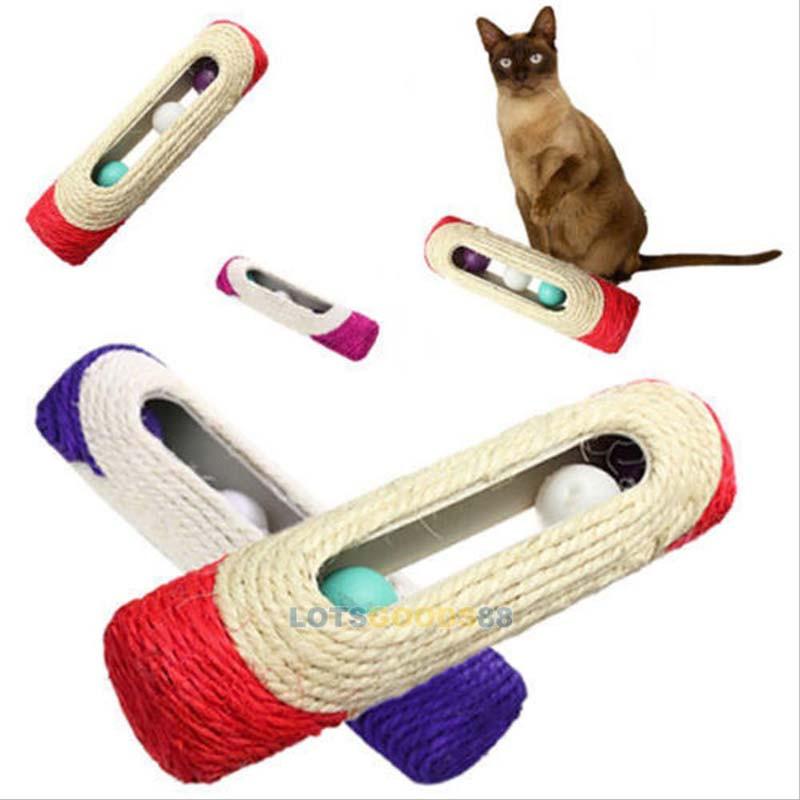 ペット用品 猫用品 ネコおもちゃ オモチャ 爪とぎ 爪研ぎ 麻縄 3つボール球 色おまかせ