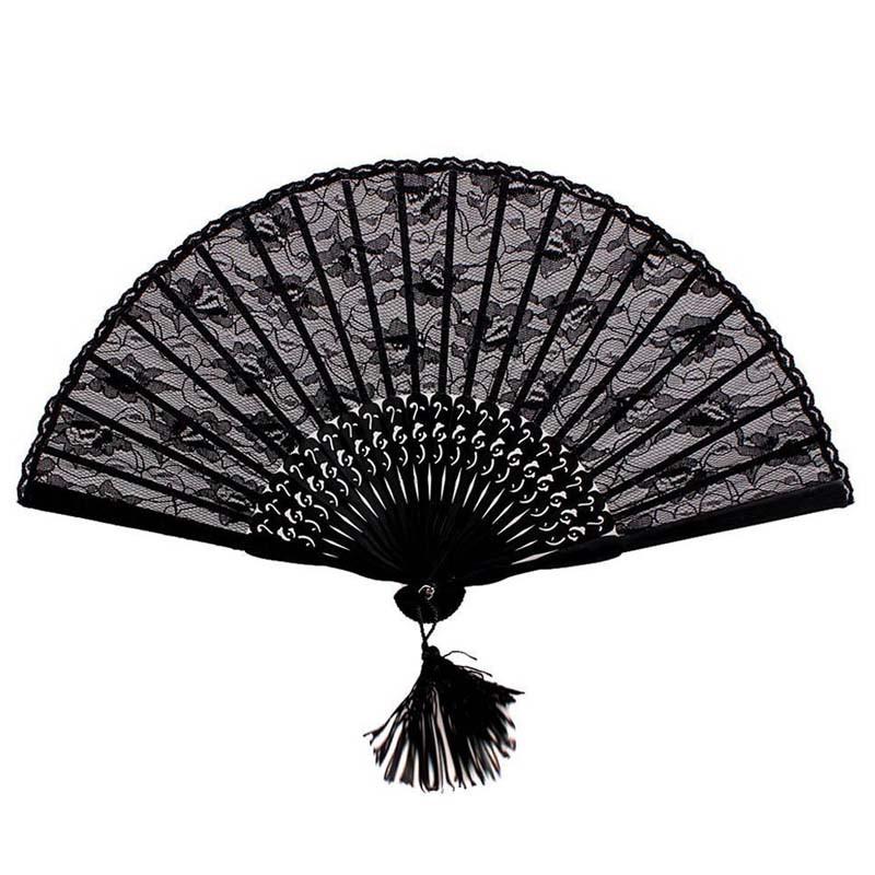 ブラックレース 扇子 姫 扇子 竹製 せんす センス