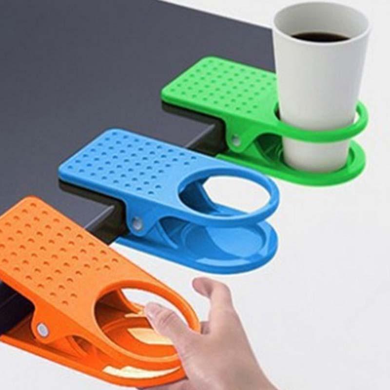 クリップ カップ ホルダー ドリンク コップ ボトル 置き場 テーブル サイド 飲み物(色おまかせ)