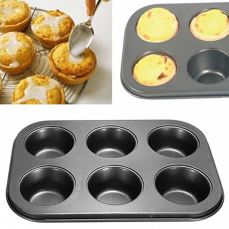 マフィンパンケーキ型 ケーキ焼き型 6個取りマフィン型 黑