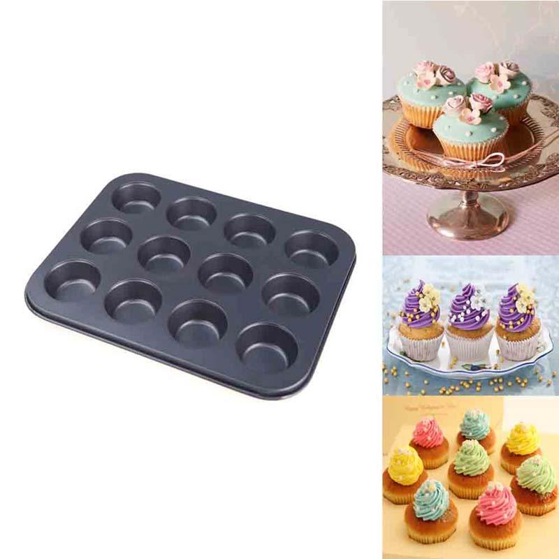 マフィンパンケーキ型 ケーキ焼き型 12個取りマフィン型丸型 35CM 黑