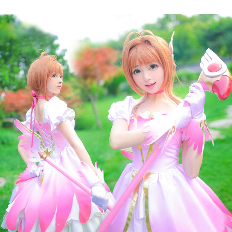 カードキャプターさくら 木之本桜 さくら ピンク+白 天使服 ドレス パーテイ コスチューム