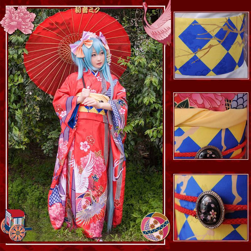 VOCALOID ボーカロイド 初音ミク MIKU 着物 刺繍版 鶴 車柄 豪華着物 コスプレ衣装