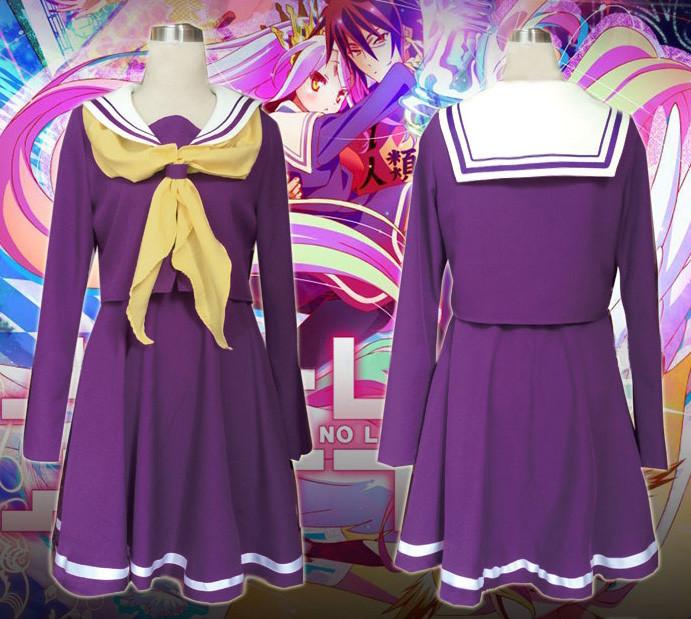 No Game No Life ノーゲーム?ノーライフ 妹 しろ 白(しろ) コスプレ衣装 紫セーラー服 コスチューム 高品質