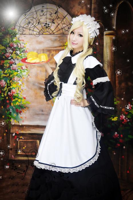 ロングメイド服(黒白)  制服 コスチューム コスプレ衣装