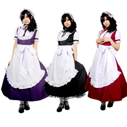 ロングメイド服 メイドドレス 高品質コスプレ衣装 3色選択