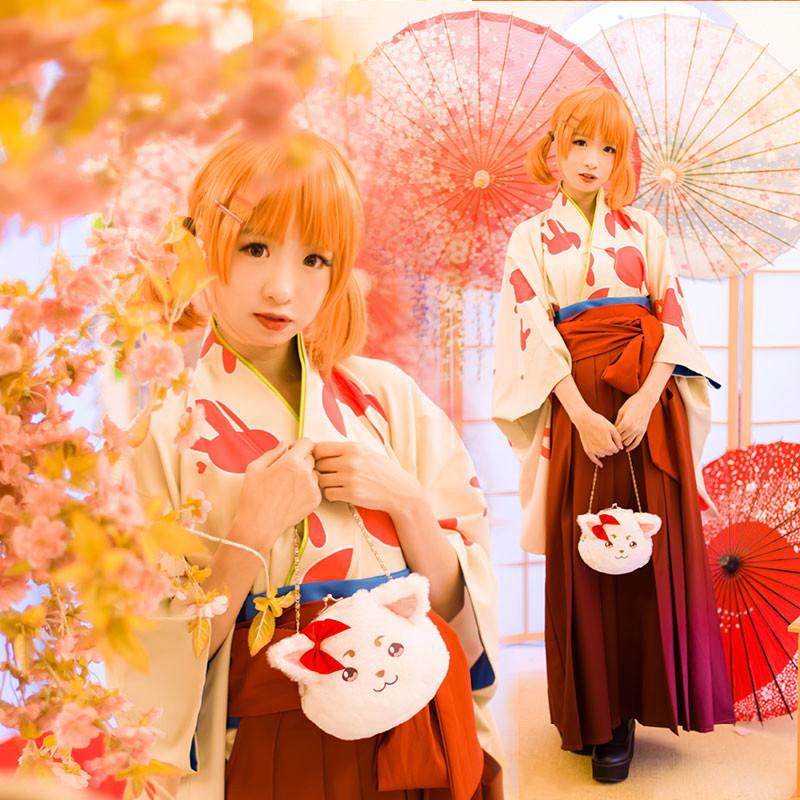 銀魂 神楽(かぐら) 大正风和服 着物 コスプレ衣装 cosplayセット 高品質