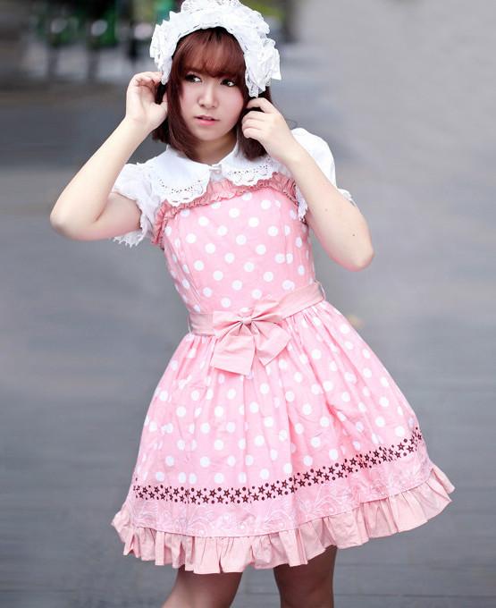 ポルカドットストライプジャンパースカート  ゴスロリ ロリータ パンク コスプレ コスチューム メイド衣装
