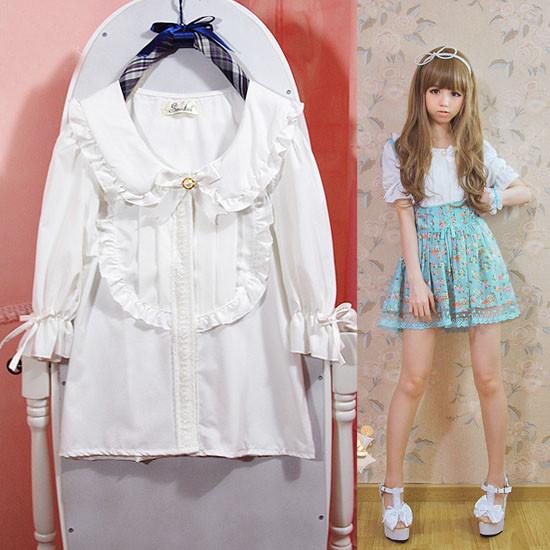 プリンセス学生 イノリ襟 ちようちんラツパ袖 蝶結び 白いシャツ