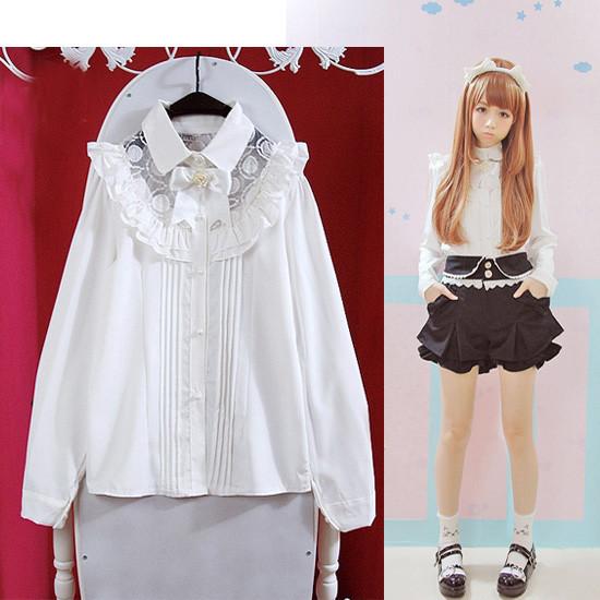 秋 萌え 長袖 レース開襟 バラ蝶結び 白いシャツ