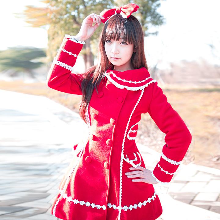 洋装秋冬 レース 蝶結び プリンセス lolitaロリータ ウールコート