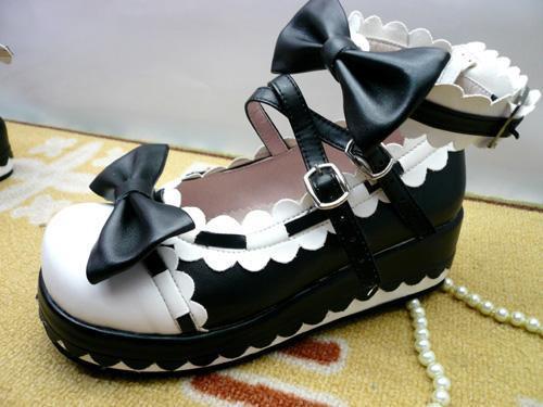 【ゴスロリ】黒白リボンスカラップパンプス